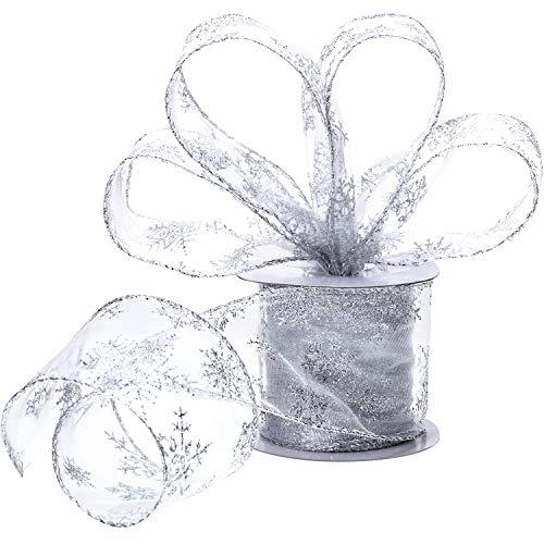 6,3 cm in der Breite Organza Band Schneeflocke Verdrahtet Schier Funkeln Band mit Spule für Weihnachten Dekoration, Geschenk Verpackung, Party Dekoration (Silber, 45 m)