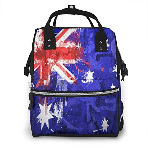 Rucksack mit Australien-Flagge, Commonwealth Star Emblem Farbe Windelrucksack Große Kapazität Reißverschluss Casual Reiserucksäcke für Mama Papa
