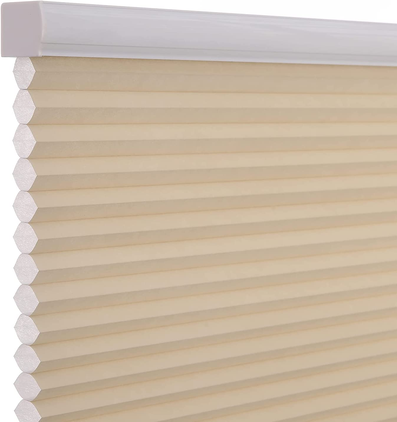 Changshade Cordless & Light Filtering Cellular Shade, Pleated Honeycomb Shade with The Diameter of 1.5 inch honeycombs, Light Blocking Window Shade and Blind, 20 inches Wide, Beige CEL20BG48D