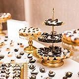 6 Stüke Tortenständer Gold Kuchenständer Metall Dessert Display 3 Etagen, Ø 30cm Cupcake für Party Hochzeit Deko Vintage-Stil Gebäckwerkzeug - 6