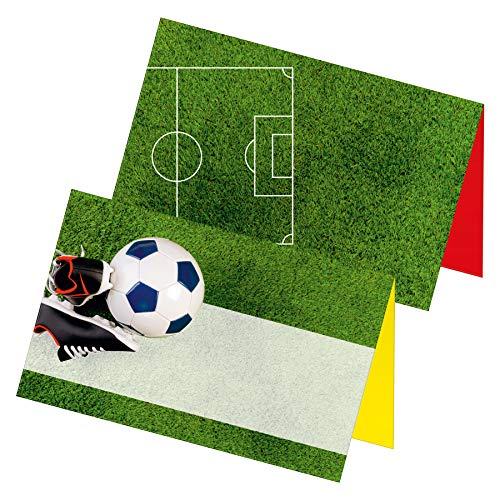 itenga 24 x Tischkarten Fußball Fußballschuhe Rasen Visitenkartengröße Geburtstag Kindergeburtstag