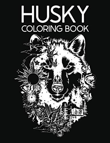 Husky Coloring Book: for Kids and Adults Funny Animals Anxiety Stress Relief Quarantine Dog Women Relaxing Lovers Little Girls Simple Mom Home Therapy ... Friend Adorable Lady Unique Calm Fancy Grown
