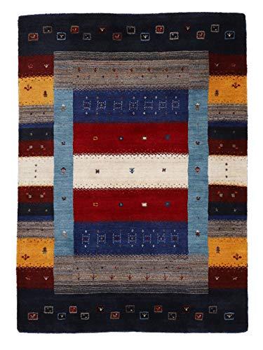 carpetfine Wollteppich Gabbeh Don Multi 80x150 cm | Moderner Teppich für Wohn- und Schlafzimmer