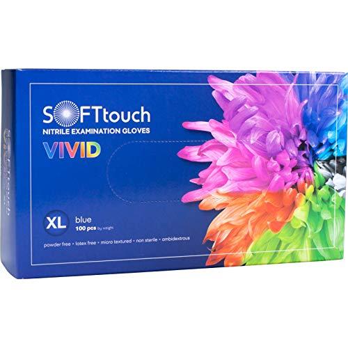 SOFTtouch Vivid Nitrile puderfreie Untersuchungshandschuhe, Nitril-Handschuhe, Einweghandschuhe Soft Touch Nitril, latexfrei (XL, blau)