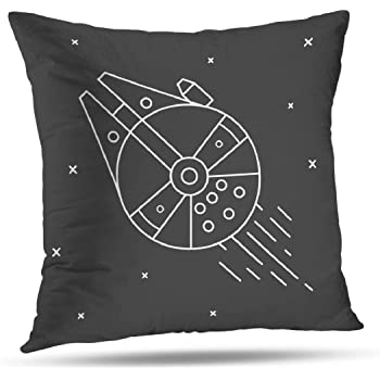 Coeny Decorative Pillow Covers 18x18 Inch Cushion Cover, Space Star War Ship Technology Future Galaxy Night Cotton and Ployster Blend Pillow Cases for Sofa Bed Home Car