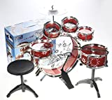 YMCtoys Kids Starter Drum Set, 11-Piece - Bass Drum, Tom Drums, Snare, Cymbal, Stool, Drumsticks (RED)