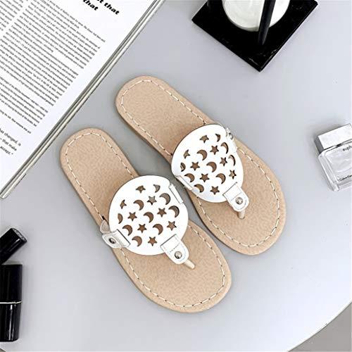 LBYSK Sandalias de Las Mujeres Sistema de pies Suave de Fondo Plano Fashion Wear Inferior Flip-Flop Quemado Ocio Suave Antideslizante Transpirable Amigos Que recolectan Mejor opción,Blanco,34