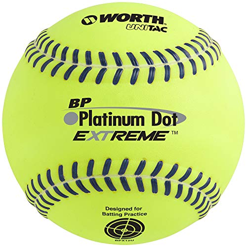 "Worth 12"" BP Platinum Dot Extreme Batting Practice Softballs, Box of 12"