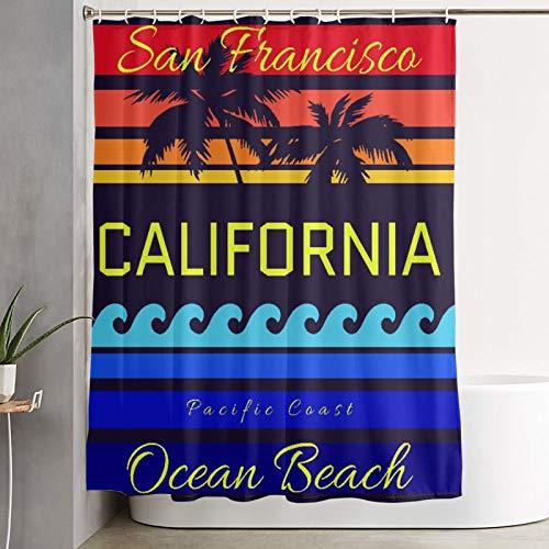 KGSPK Duschvorhang,California Beach Typografie San Francisco Ocean Beach Druckdesign Sportswear Bekleidung Ca Original Wear,wasserdichter Badvorhang mit 12 Haken Duschvorhangringen 180x180cm