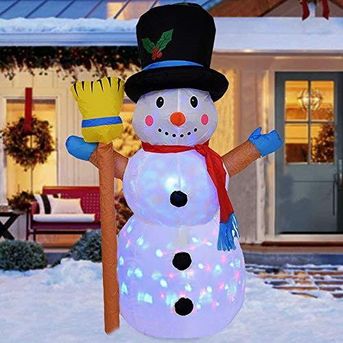 panthem Aufblasbare Weihnachten Schneemann 120cm mit Drehen LED Beleuchtet und Gebläse, Weihnachtsbeleuchtung Weihnachtsdeko Garten Hof Wohnzimmer Balkon Außen Deko Geschenk