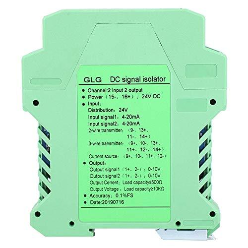 Acondicionador de señal de CC, Transmisor de aislador de señal de módulo de 4~20 mA Acondicionador, Aislador de señal de voltaje y corriente de CC para transmisor(2 en 2 fuera 0-10V)