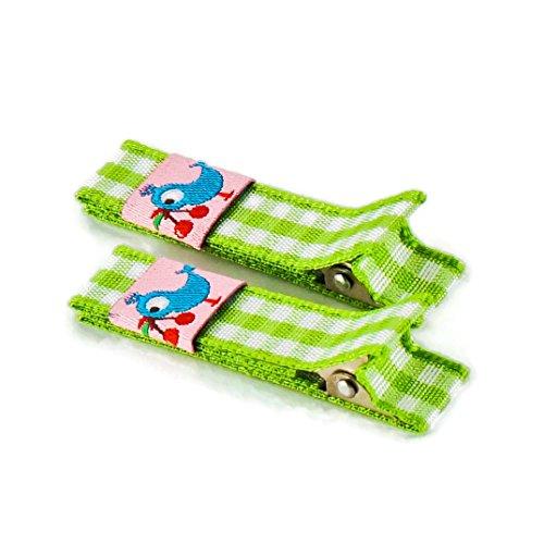 Anton & Sophie 1 Paar hochwertige Haarspangen grün kariert - mit Stoff bezogen - KEIN ZIEPEN - Viele Variationen - Made in Gemany (grün kariert mit blauem Vogel)