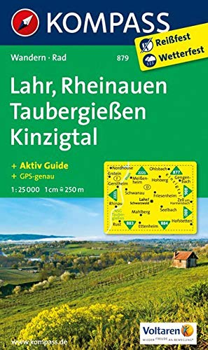 KOMPASS Wanderkarte Lahr - Rheinauen - Taubergießen - Kinzigtal: Wanderkarte mit Aktiv Guide und Radwegen. GPS-genau. 1:25000 (KOMPASS-Wanderkarten, Band 879)