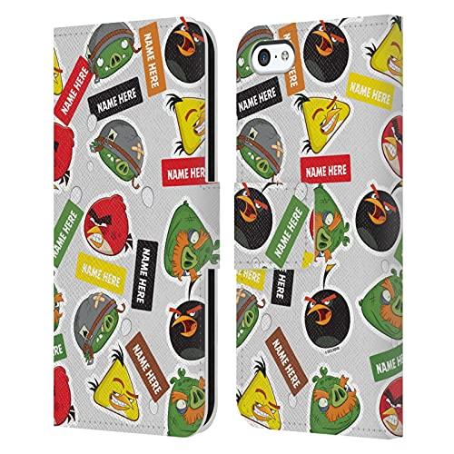 Head Hülle Designs Offiziell Zugelassen Personalisierte Persönliche Angry Bird Darsteller & Namen Muster Kunst Leder Brieftaschen Handyhülle Hülle Huelle kompatibel mit Apple iPhone 5c