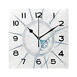 ALUONI Print Square Wall Clock, 8 Inch Abstract Surreal Magic Machine Digital Artwork for Creative Graphic Design Quiet Desk Clock for Home,Office,School No137264