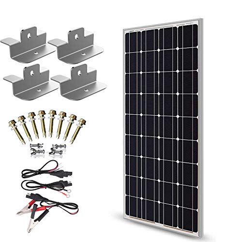 SUNER POWER 12V Waterproof Solar Battery Trickle Charger & Maintainer - 100 Watts Solar Panel Built-in Intelligent MPPT Solar Charge Controller + Upgraded Z Brackets + SAE Connection Cable Kits