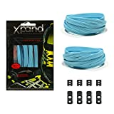 Xpand No Tie Shoelaces System with Elastic Laces - One Size Fits All Adult and Kids Shoes (Baby Blue)