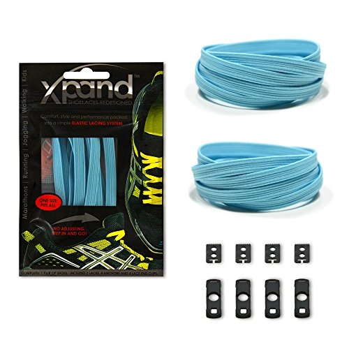 Xpand No Tie Shoelaces System with Elastic Laces - Baby Blue - One Size Fits All Adult and Kids Shoes