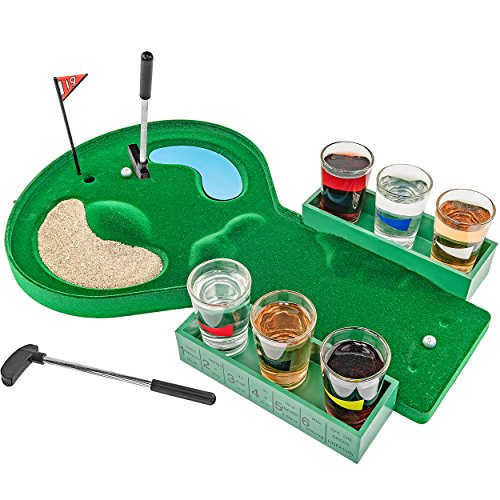 Fairly Odd Novelties Table Golf Shot Glass Drinking Game Man Dad Fathers Day White Elephant Novelty Gift, Standard, Green