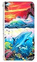 [Galaxy A51 5G SCG07] ベルトなし スマホケース 手帳型 ケース ギャラクシーA51 8144-C. SHANGRI-LA-SUNSET かわいい 可愛い 人気 柄 ケータイケース クリスチャン ラッセン
