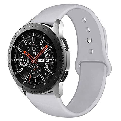 ANNYOO Pulsera para Samsung Galaxy Watch 46 mm/Gear S3 Frontier/Gear S3 Classic, 22 mm de ancho, silicona suave, correa de repuesto compatible con Huawei GT/2 Classic