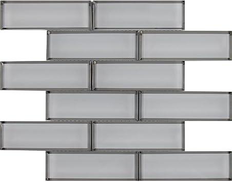 White Glass Mirror Beveled 2 X 6 Subway Tile Kitchen Backsplash Idea Bath Shower Wall Mosaics Amazon Com