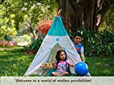 CuddlyCoo Cotton Canvas Kids Foldable Teepee ( Tipi ) Play Tent with Floor Mat and 4 Sided Wooden Poles (Seagreen Zigzag)