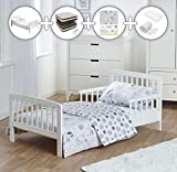 Complete Deluxe 7 Piece White Kids Toddler Bed Bundle with Spring Mattress and Safari Friends Reversible Bedding Set | Junior Bed and Children's Bed