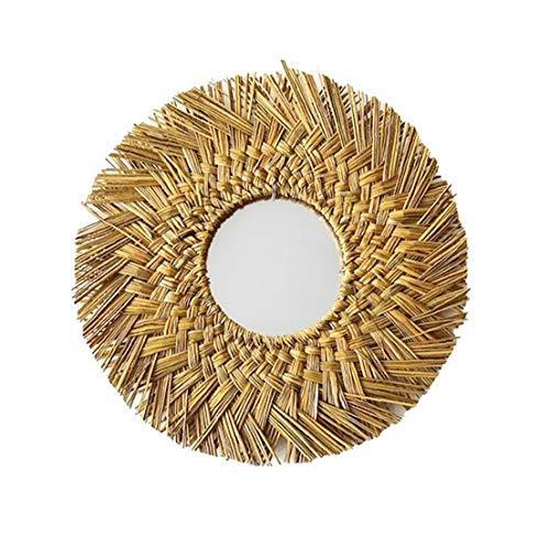 Espejo de Pared Tejida Hecha a Mano Que cuelga de Maquillaje Rattan montado en la Pared Redonda de Oro para el Dormitorio de la Sala