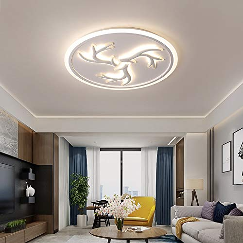 ZXJUAN plafondlamp eenvoudig circulair design woonkamer slaapkamer 3 anlers patroon LED-plafondlamp traploos dimming startpagina restaurant hotel decoratief licht (78 * 78 * 5,5 cm)