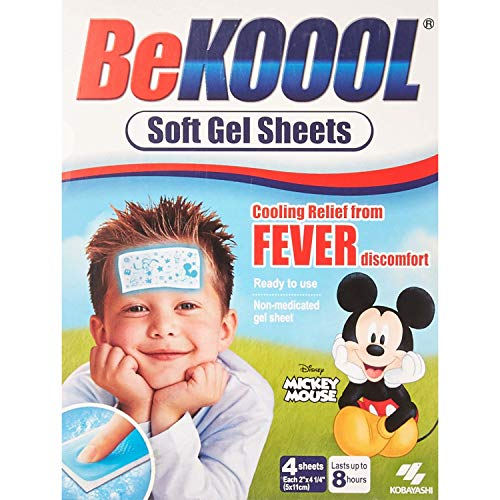 Be Koool: Kids 8 Hour Soft Gel Sheets w/Cooling Relief Fever Reducer, 4 Count (Pack of 5)