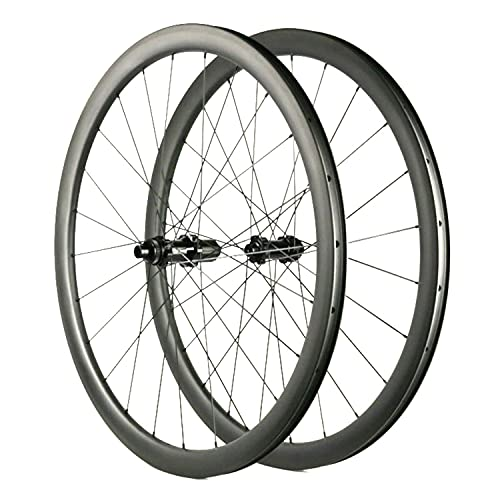 Ruedas de Carretera de Carbono de 38mm Freno de Disco Ciclocross Rueda de Bicicleta Clincher Tubeless Ready Centerlock Solo 1470g (Freno de Disco de 6 Pernos)