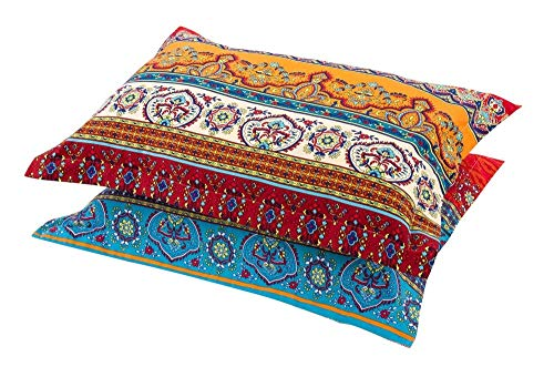 """HNNSI Exotic Striped Bohemia Pillow Shams Queen Size 2 Pieces,100% Brushed Cotton Thick Boho Pillow Cases Bohemian Pillow Covers,19"""" x 29"""""""