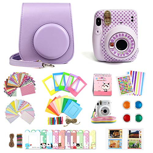 Protective & Portable Case Compatible with Fujifilm Instax Mini 11/9/8/8+ Instant Polaroid Film Camera with Soft PU Leather Bag and Removable Shoulder Strap +Instant Camera Gift Sets -Light Purple