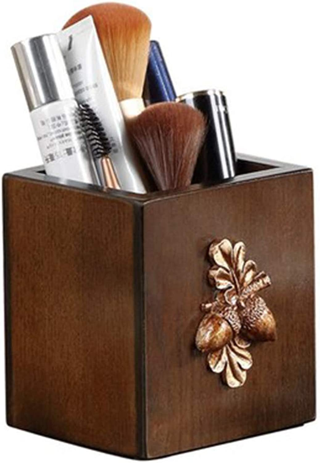 WANG LIQING Pen holder, creative fashion, desktop, exquisite vintage, makeup storage bucket, student, wooden pen holder, storage box (color   Wood color)