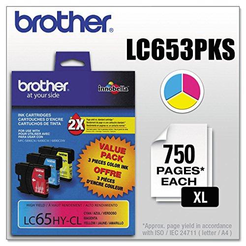 (3Unidades) Paquete de Valor brtlc653pks lc653pks (LC-65) Tinta de Alto Rendimiento, 900Page-Yield, Cian; Magenta; Amarillo