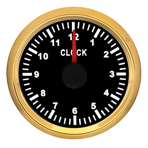 medidor de profundidad para barco Medidores de reloj de 52 mm Medidores de retroiluminación roja Medidores de hora 0 ~ 12 horas para barcos de automóvil Mostrar relojes de reloj 9-32V indicador de co