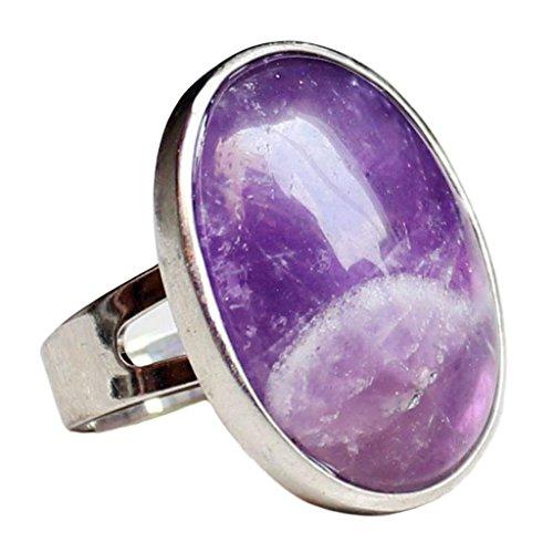 MagiDeal Anillo Ajustable de Dedo Hecho de Piedra Preciosa Oval Cristal Natural - Púrpura