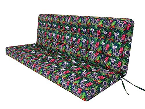 Cojín de asiento para banco de jardín, columpio, cojín de suelo, para columpio de Hollywood, exterior e interior, 120 cm, flores y hojas