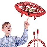 Hand Operated Drones for Kids or Adult Mini Drone with Shinning LED Lights UFO Flying Ball Toy Gifts for Boys and Girls Motion Sensor Helicopter Outdoor and Indoor (Red with flowing cable)