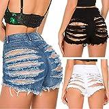 LYDIANZI Mujeres De Cintura Alta ROMPED Jeans Cortos Lavados Lavado Avejecido Sexy Mini Denim Jeans Corto Pantalones De Tasel con Bolsillos(Size:Extragrande,Color:Negro)
