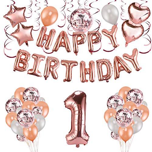 HOWAF Decoración de Primer cumpleaños en Oro Rosa, 59 Piezas Feliz cumpleaños Decoración Globos Guirnalda Banner 1 Años Globos de Confeti y Estrella Corazon Globos de Aluminio para Bebe Niña y Niño