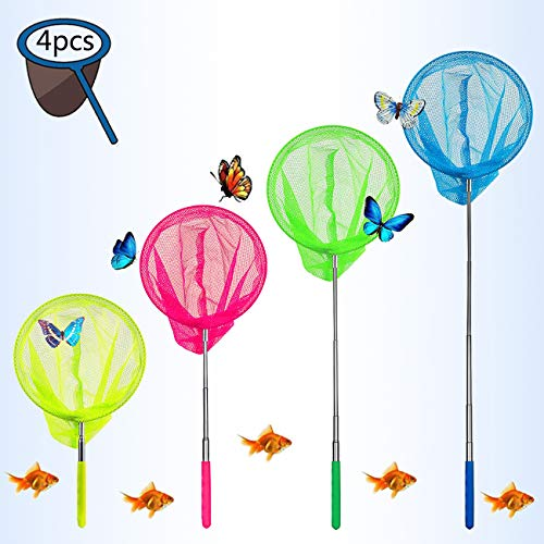 Eyscoco Red de pesca para niños, 4 unidades, telescópica, para exteriores, ideal...