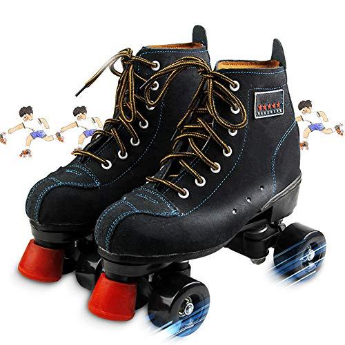 Patines de Patinaje Roller Skates para Mujer Y Hombre 4 Ruedas Patines CláSicos de Piel de Doble Fila para Interior Y Exterior Unisex Adultos Negro,42