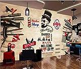 SKTYEE Papel De pared De salón De hombre personalizado 3D Retro Peluquería Fondo De salón De peluquería Mural Papel tapiz 3D Decoración industrial Papel De Parede 3D-A, 350x245 cm (137.8 by 96.5 in)