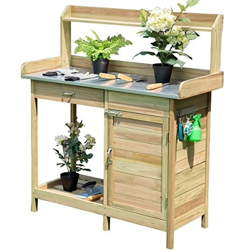 COSTWAY Garden Potting Table, Wooden Planting Bench with Cabinet, Drawer, Shelf and Hook, Flower Plant DIY Workstation for Patios, Courtyards, Balcony