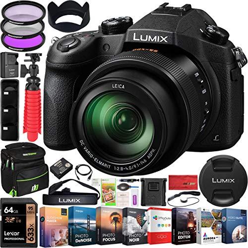 Panasonic Lumix FZ1000 4K Point and Shoot Digital Camera with 16x Leica DC Vario-Elmarit 25-400mm Lens DMC-FZ1000 Bundle with Deco Gear Bag Case + Filter Kit + Photo Video Software & Accessories