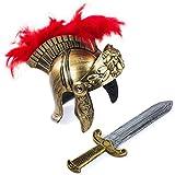 Tigerdoe Roman Soldier - Helmet & Sword - Gladiator Costume - Spartan Costume - Costumes for Kids & Adults - 2 Pc Set (2 pc Roman Helmet and Sword) Gold