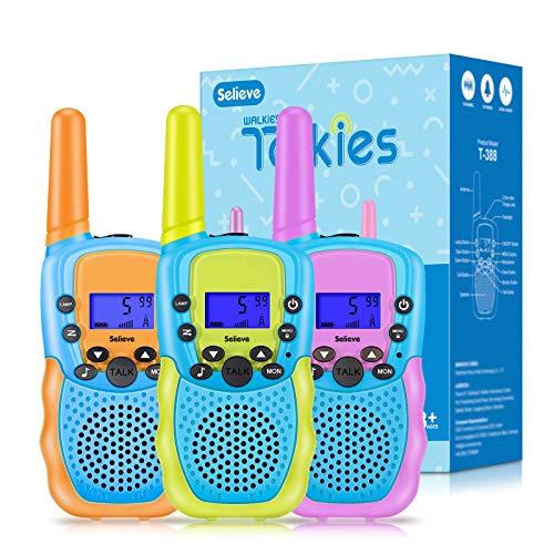 Walkie Talkie 3 Pack Niños Selieve Juguetes para Niños Niñas de 3-8 Años 3 KM de Largo Alcance con 8 Canales, Regalos para Niños o Niñas Adolescentes de 5 a 12 Años (Naranja)