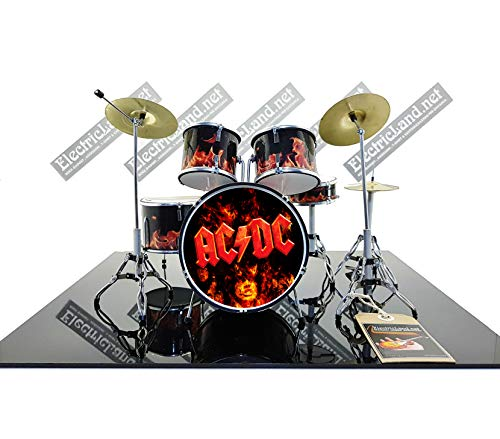 Mini Drum Kit AC/DC angus young brian johnson acdc flame Set Tribute to Ac-Dc Miniaturen Rock 25cm Modellskala 1:4 Sammlerbox Set Schlagzeug Modell-Sammlung